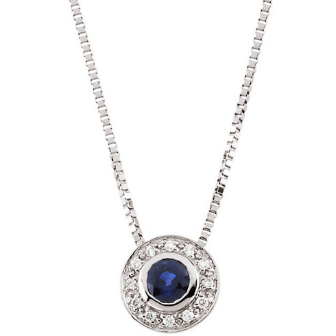 14k White Gold 1/3 ct Blue Sapphire 18in Necklace with Diamond Accents