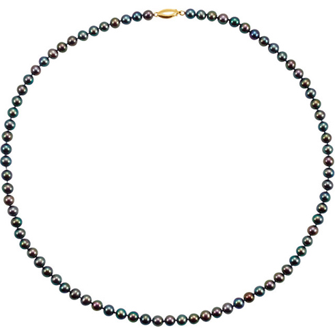 14kt Yellow Freshwater Cultured Black Pearl 20in Necklace