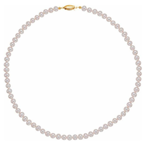 Panache 14k Yellow Gold 6mm Freshwater Cultured Pearl Strand Necklace