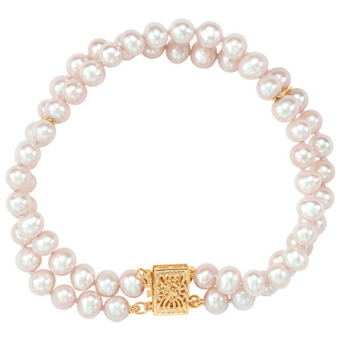 14k Yellow Gold 5mm Freshwater Cultured Pearl Double Strand Bracelet