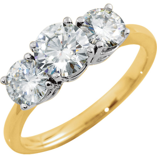 14k Two-tone Gold 1.75 ct 3-Stone Forever One Moissanite Ring
