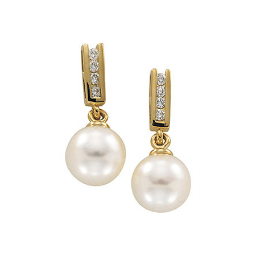 14kt Yellow Gold 7.5mm Akoya Cultured Pearl Diamond Drop Earrings