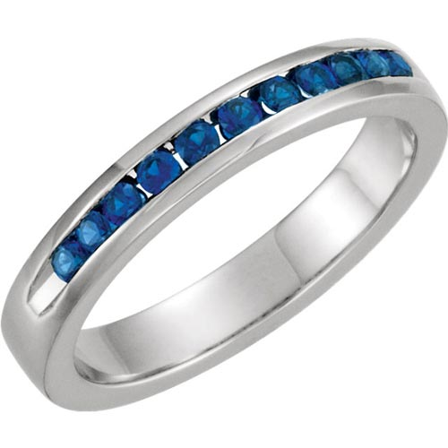 14k White Gold 1/3 ct tw Sapphire Classic Channel Set Anniversary Band