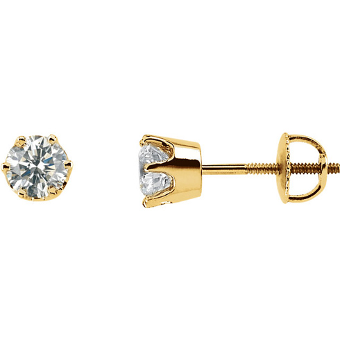 14k Yellow Gold 3/4 ct Diamond Stud Threaded Earrings