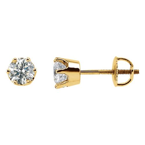 14k Yellow Gold 3/4 ct Diamond Stud Threaded Earrings
