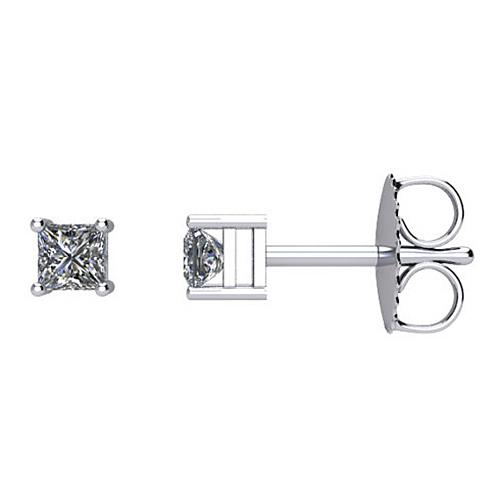 14kt White Gold 1/4 ct Square Diamond Stud Earrings