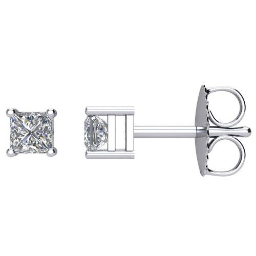 14kt White Gold 1/3 ct Square Diamond Stud Earrings
