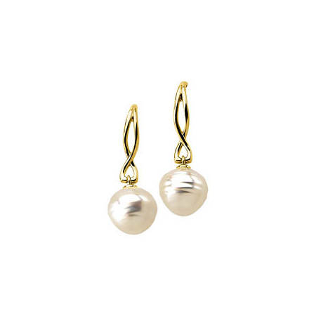 14kt Yellow Gold 13mm Circle South Sea Cultured Pearl Earrings