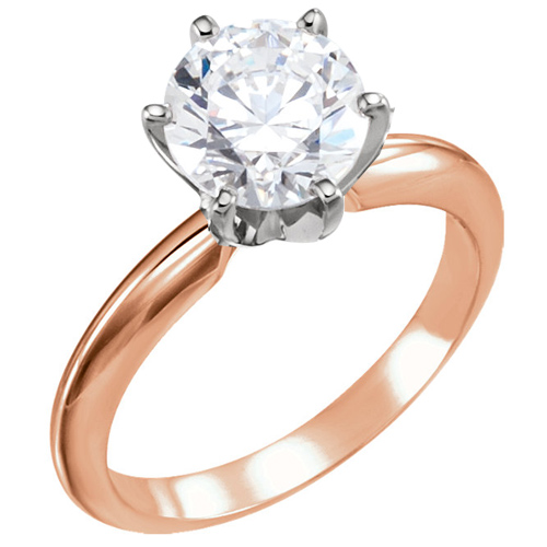 14kt Rose Gold 3 ct Forever One Moissanite Solitaire Ring