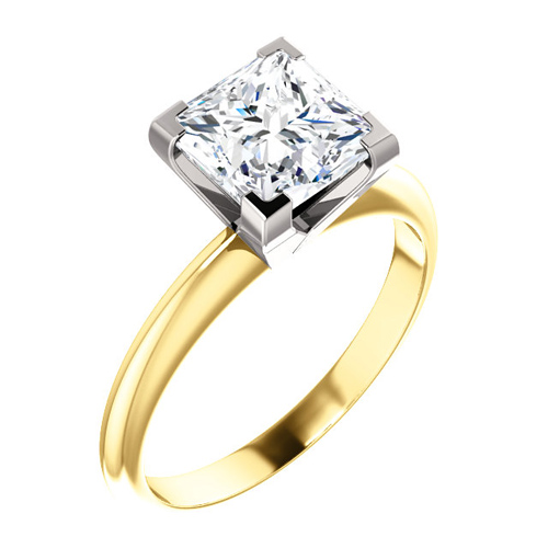 14kt Two Tone Gold 2.16 CT Moissanite Square Ring