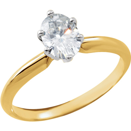 14kt Two-tone Gold 9/10 ct Oval Forever Classic Moissanite Ring
