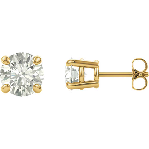 1 ct Forever One Moissanite Earrings 4-Prong Colorless 14k Yellow Gold