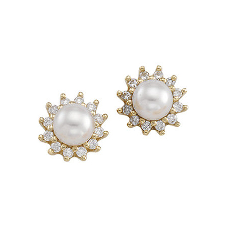 14kt Yellow Gold 6mm Akoya Cultured Pearl Diamond Earrings