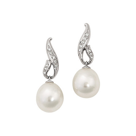 14kt White Gold Diamond Ornate 12mm Circle South Sea Pearl Earrings
