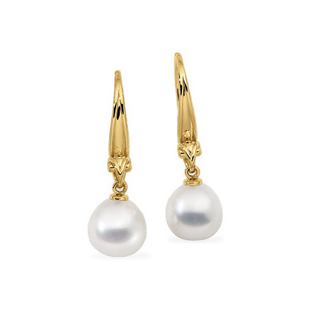 18kt Yellow Gold 11mm Drop Paspaley South Sea Cultured Pearl Earrings