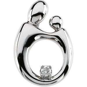 14kt White Gold Mother and Child Diamond Hollow Back Pendant
