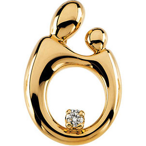 14kt Yellow Gold Mother and Child Diamond Hollow Back Pendant