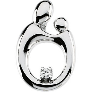 14kt White Gold 3/4in Mother & Child Diamond Pendant