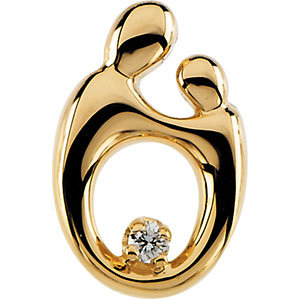 14k Yellow Gold 5/8in Mother & Child Diamond Pendant