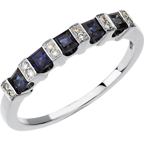 14kt White Gold Sapphire Anniversary Band with Diamond Accents