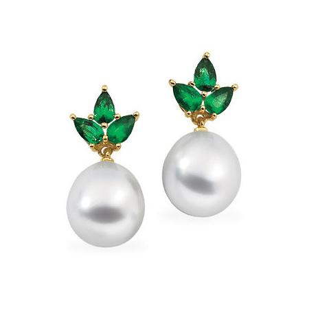 18kt Yellow Gold Emerald 10mm Drop South Sea Pearl Earrings