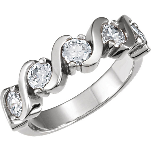 14kt White Gold 1.25 CT TW Moissanite Anniversary Ring
