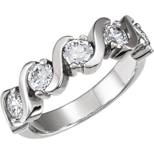 14kt White Gold 1.25 CT TW Moissanite Anniversary Ring
