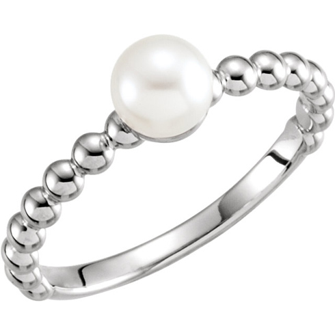 14kt White Gold 6mm Freshwater Cultured Pearl Ring with Beaded Finish