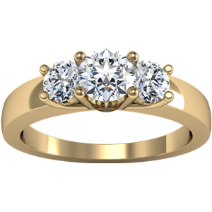 14kt Yellow Gold 1 CT TW Moissanite 3-Stone Ring
