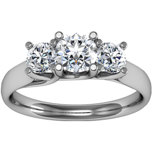 14kt White Gold 1 CT TW Moissanite 3-Stone Anniversary Ring