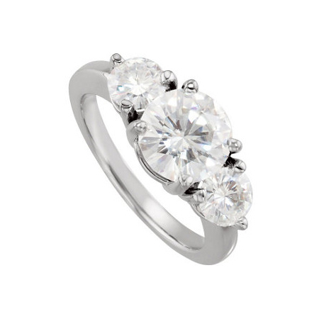 14kt White Gold 3 CT TW Moissanite 3-Stone Ring