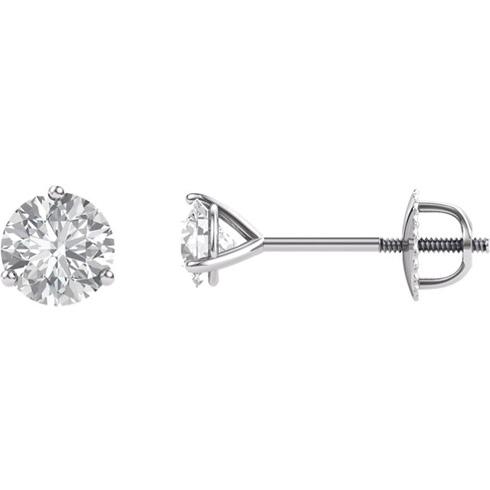 14kt White Gold 1 ct Forever Brilliant Moissanite Martini Screwback Stud Earrings