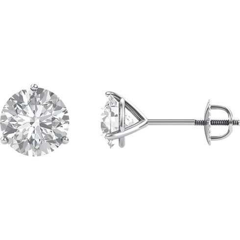14kt White Gold 3 ct Forever Brilliant Moissanite Martini Screwback Stud Earrings
