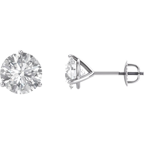 14kt White Gold 4 ct Forever Brilliant Moissanite Martini Screwback Stud Earrings