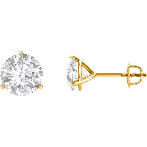 14kt Yellow Gold 2 ct tw Forever One Moissanite Martini Screw Earrings