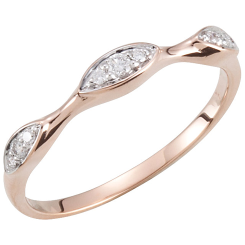 14kt Rose Gold Stackable 1/10 ct Diamond Pointed Oval Ring
