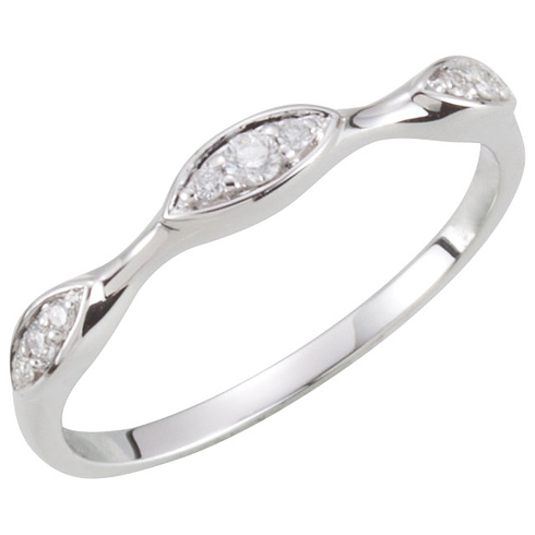 14kt White Gold Stackable 1/10 ct Diamond Pointed Oval Ring