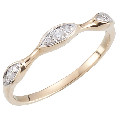 14kt Yellow Gold Stackable 1/10 ct Diamond Pointed Oval Ring