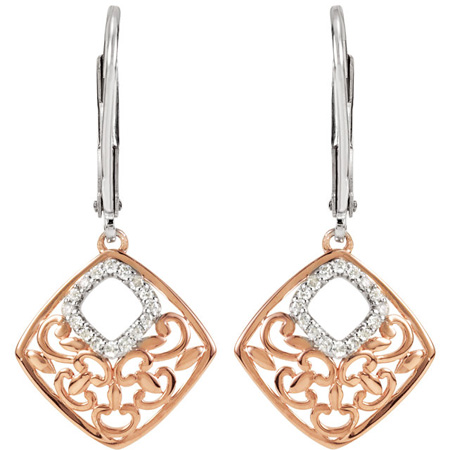 Rose Gold Plated 1/10 ct tw Diamond Square Earrings