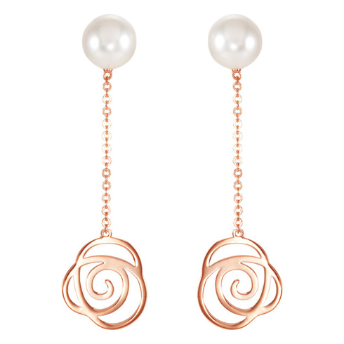 14kt Rose Gold Freshwater Cultured Pearl Floral Earrings
