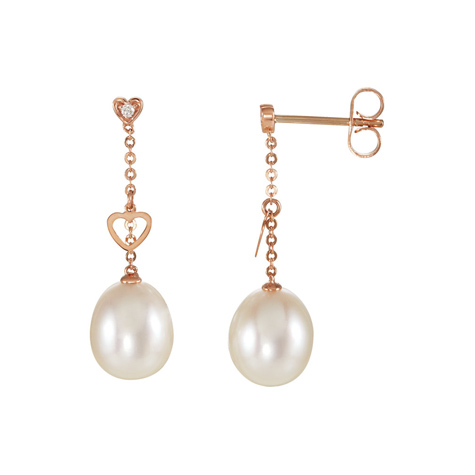 14kt Rose Gold Diamond Freshwater Cultured Pearl Heart Earrings