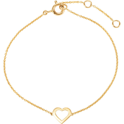 14kt Yellow Gold 7in Heart Charm Bracelet