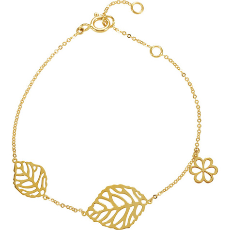 14kt Yellow Gold 7in Leaf and Flower Charm Bracelet