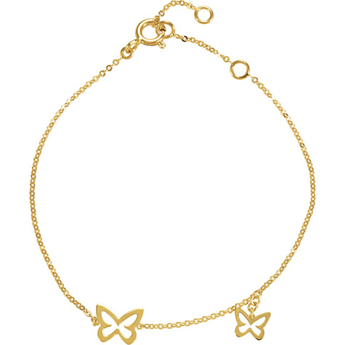 14kt Yellow Gold 7in Butterfly Charm Bracelet
