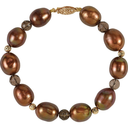 7 1/2in Freshwater Chocolate Cultured Pearl Smoky Quartz Bracelet