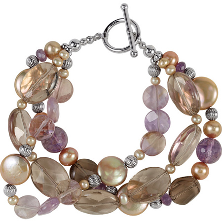 8in Freshwater Chocolate Cultured Pearl and Multi Gemstone Bracelet