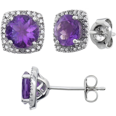 Sterling Silver Halo Amethyst and Diamond Earrings