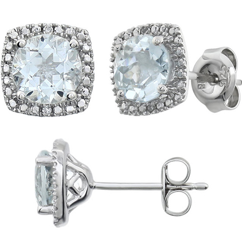 Sterling Silver Halo Aquamarine and Diamond Earrings