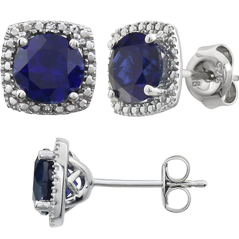 Sterling Silver Halo Created Blue Sapphire and Diamond Earrings