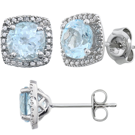 Sterling Silver Halo Blue Topaz and Diamond Earrings